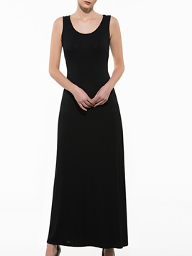 Solid Color Hollow Sleeveless Maxi Dress