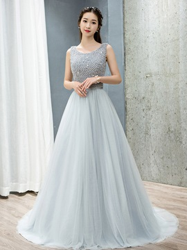 Fancy Scoop Neck Beading Tulle Evening Dress & Faster Shipping Sale under 500