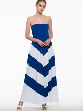 Contrast Color Strapless Backless Maxi Dress