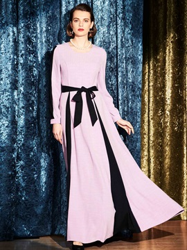 Contrast Color Long Sleeve Expansion Maxi Dress