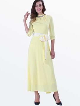 Chic Turtleneck 3/4 Sleeve Maxi Dress