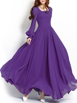 Lantern Sleeve Pleated Women's Maxi Dress