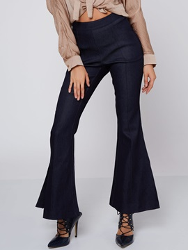 Solid Color Split Flare Women Pant