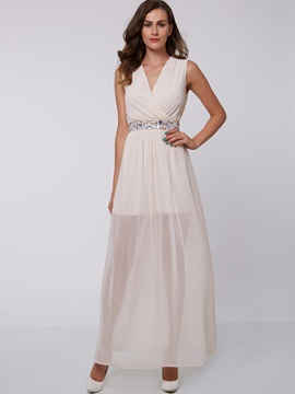Chic V-Neck Beading Ankle-Length Evening Dress & vintage Faster Shipping Sale