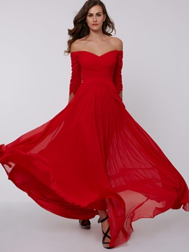 Off the Shoulder Sleeves Draped Evening Dresss & Faster Shipping Sale on sale