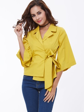 Vogue Flare Sleeve Lace-Up Blouse