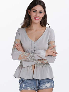 Center Front-Closure Long-Sleeve Women Blouse