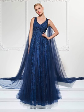 Elegant A-Line V-Neck Appliques Lace Watteau Train Evening Dress & amazing Faster Shipping Sale