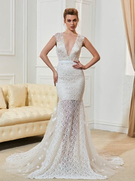 Deep V-Neck Flowers Buttoon Lace Wedding Dress & Faster Shipping Sale under 100