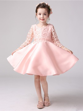 Long Sleeves Scoop Neck Bowknot A-Line Flower Girl Dress & Faster Shipping Sale for less