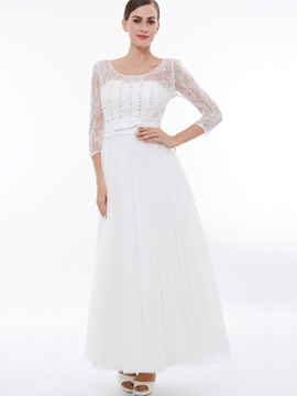 3/4 Length Sleeves Lace Beading Evening Dress & Faster Shipping Sale under 500