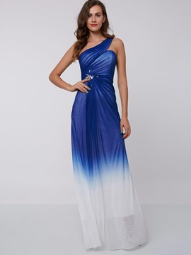 One Shouder Beading Gradient Color Evening Dress & Faster Shipping Sale 2012