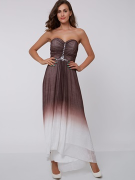 Sweetheart Beading Ruched Gradient Color Evening Dress & colorful Faster Shipping Sale