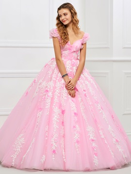 Charming Sweetheart Ball Gown Appliques Ruched Floor-Length Quinceanera Dress & romantic Faster Shipping Sale