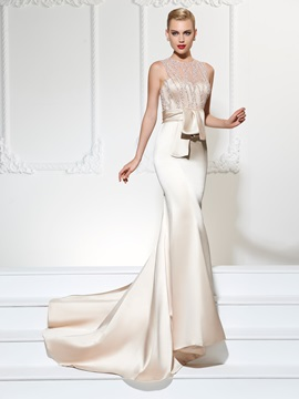 Unique Jewel Trumpet Lace Sashes Court Train Evening Dress & Faster Shipping Sale on sale