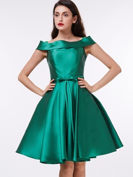 Off the Shoulder Bowknot Knee-Length Homecoming Dress & casual Faster Shipping Sale