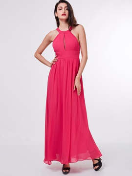 Casual Halter Ruched Hollow Long Prom Dress & casual Faster Shipping Sale