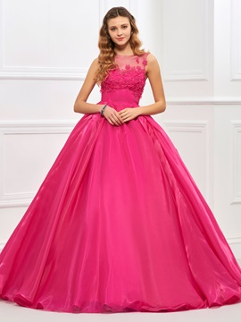Charming Jewel Neck Ball Gown Appliques Floor-Length Quinceanera Dress & Faster Shipping Sale 2012