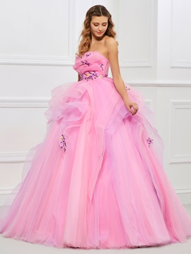Nice Strapless Ball Gown Embroidery Pleats Floor-Length Quinceanera Dress & modest Faster Shipping Sale