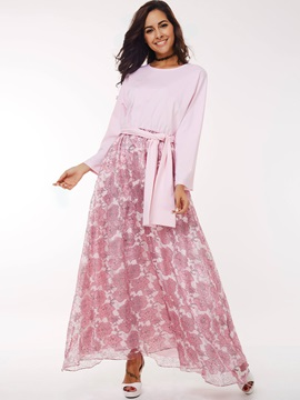 Print Nine Points Sleeve Mesh Patchwor Maxi Dress