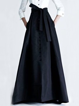 Black Buckle Bowknot Long Maxi Skirt