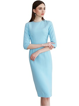 Three-Quarter Sleeve Zipper Solid Color Work Dress