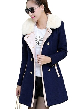 Stylish Double-Breasted Faux Fur Collar Overcoat