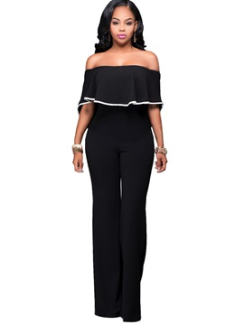 Boat Neck Black Wide Leg Women's Jumpsuits