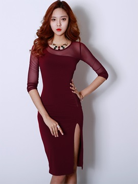 Three-Quarter Sleeve Mesh Patchwork Bodycon Dress