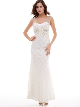 Elegant Pearls Rhinestones Beading Sleeveless Sheath Evening Dress & fashion Faster Shipping Sale