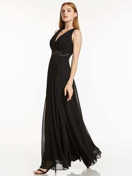 Simple Empire Waist V-Neck Beading A-Line Chiffon Evening Dress & Faster Shipping Sale 2012
