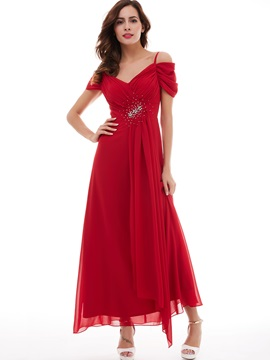 A-Line Spaghetti Straps Pleats Beading Long Evening Dress & Faster Shipping Sale under 300