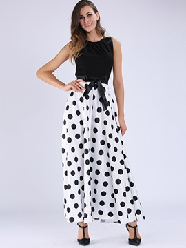 Polka Dots Sleeveless Bowknot Maxi Dress