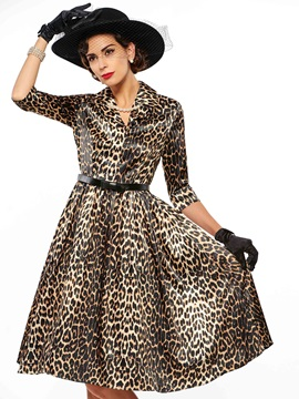 Leopard Lapel Half Sleeve Skater Dress