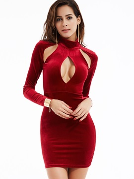 Plain Turtleneck Hollow Sheath Dress