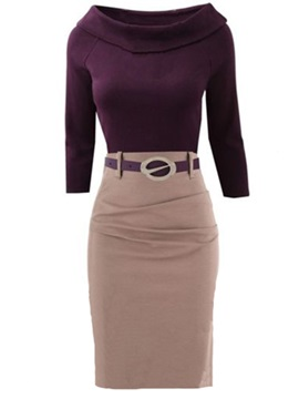 Contrast Color Lapel Ruffled Bodycon Dress