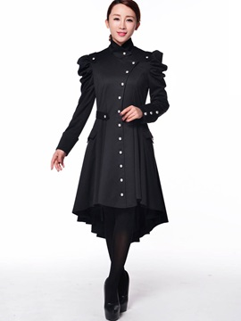 Stylish Button Decoration Peplum Trench Coat