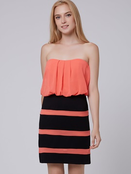 Color Block Sleeveless Stripe Women's Bodycon Dress