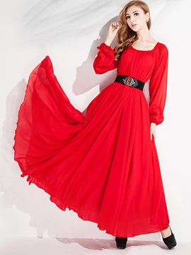 Lantern Sleeve Lace-Up Expansion Maxi Dress