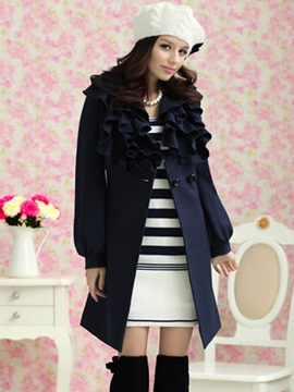 Stylish Solid Color Ruffled Collar Overcoat