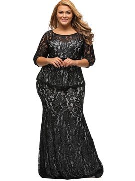 3/4 Sleeve See-Through Round Neck Maxi Dress