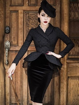 Black Long Sleeve Package Buttocks Women's Skirts