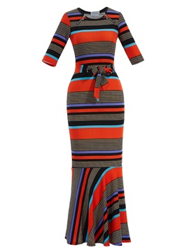 Color Block Stripe Mermaid Women's Maxi Dress