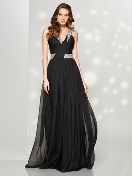 Concise A-Line V-Neck Pleats Beaded Sweep Train Prom Dress & formal Faster Shipping Sale