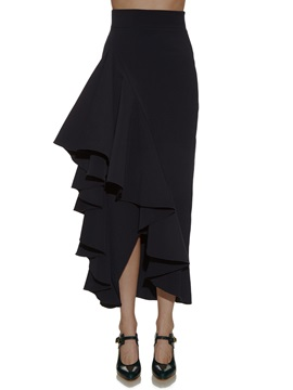 High Waisted Falbala Black Women's Skirts