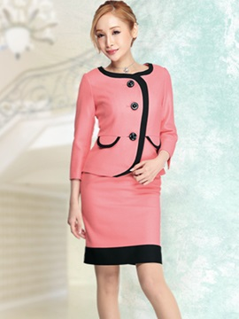 Single-Breasted Coat And Bodycon Skirt Suit