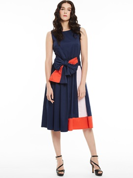 Round Neck Sleeveless Color Block A-Line Dress