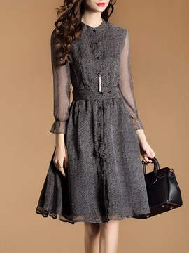 Long Sleeve Chiffon Skater Dress