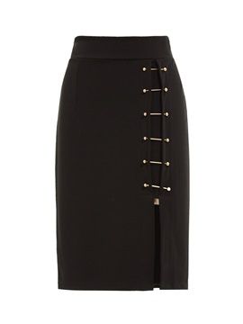 Lace-Up Patchwork Plain Straight Skirt