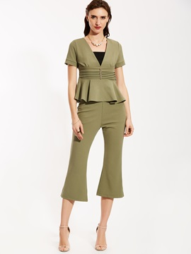 Square Neck Blouse And Bellbottoms Suit